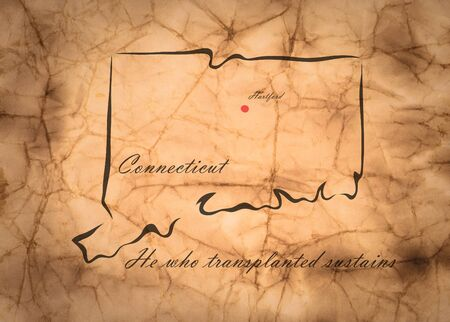 memorize: Map Connecticut of America on the old faded paper
