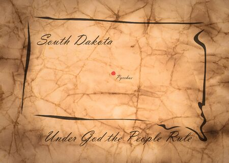 memorize: Map South Dakota of America on the old faded paper Stock Photo
