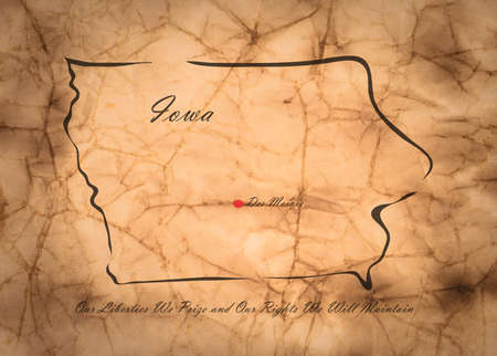 memorize: Map Iowa of America on the old faded paper Stock Photo