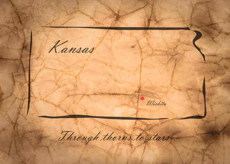 memorize: Map Kansas of America on the old faded paper