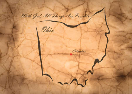 memorize: Map Ohio of America on the old faded paper