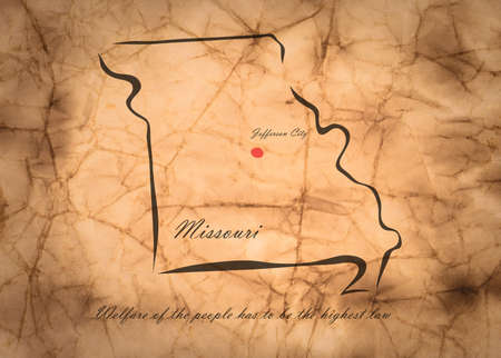 memorize: Map Missouri of America on the old faded paper Stock Photo