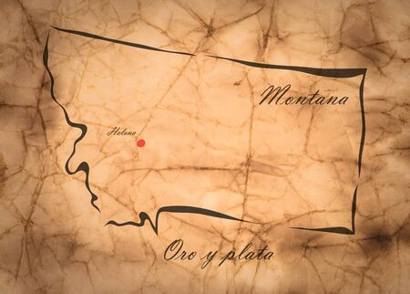memorize: Map Montana of America on the old faded paper Stock Photo
