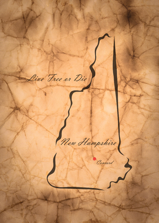 memorize: Map New Hampshire of America on the old faded paper