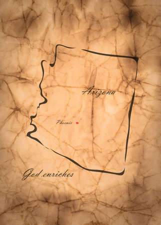 memorize: Map Arizona of America on the old faded paper