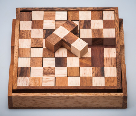 wooden puzzle for the development of thinking