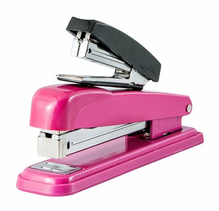 staplers: The two staplers isolated on a white background Stock Photo