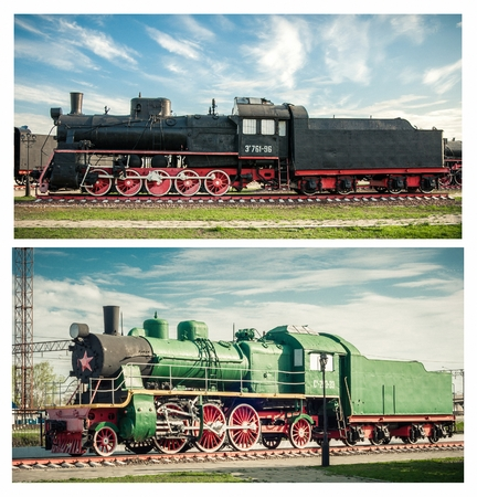 20th century: Set of a old steam locomotives of the 20th century