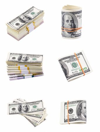 pack of dollars: Set of a pack of dollars isolated on a white background