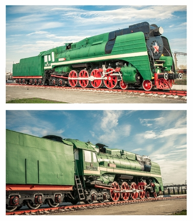 steam locomotives: Set of a old steam locomotives of the 20th century