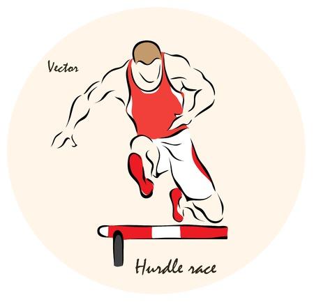 hurdle: Vector illustration. Illustration shows a Summer Sports. Hurdle race�