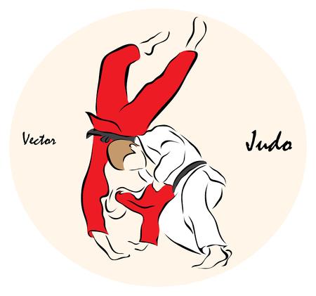 judo: Ilustración del vector. La ilustración muestra una competición deportiva Deportes de Verano. Judo?
