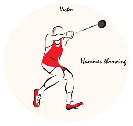 throwing: Vector illustration. Illustration shows a Summer Sports. Hammer throwing Illustration