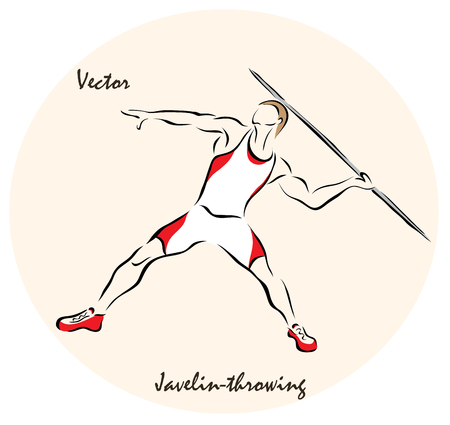 throwing: Vector illustration. Illustration shows a Summer Sports. Javelin throwing Illustration