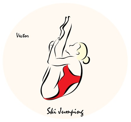 jumping into water: Vector illustration. Illustration shows a Summer Sports. Jumping into water from a springboard
