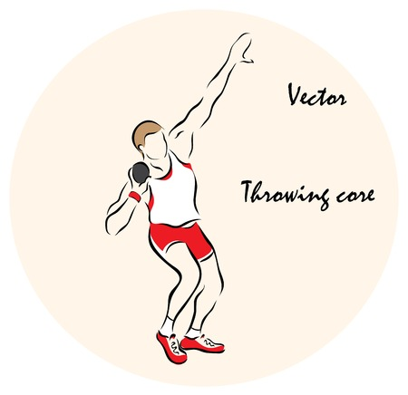 Vector illustration. Illustration shows a Summer Sports. Throwing core