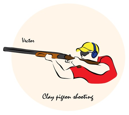 Vector illustration. Illustration shows a Summer sports competition Sports. Clay pigeon shootingΠIllustration