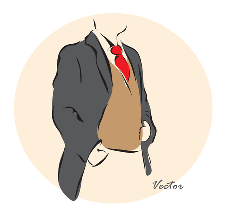 shiny suit: Vector illustration. Illustration shows a mens fashionΠIllustration