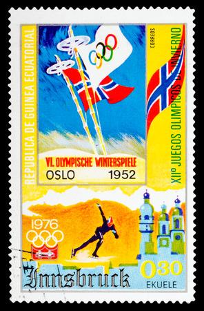 REPUBLIQUE DE GUINEE - CIRCA 1976: A stamp printed in Republique de Guinee shows Winter Games in Montreal 1976, series sport, circa 1976