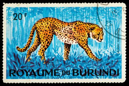 BURUNDI - CIRCA 1974: A stamp printed in Burundi shows leopard, series animals, circa 1974 Editorial