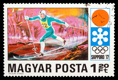 circa: HUNGARY - CIRCA 1972: A stamp printed in Hungary shows Winter Games in Sapporo 1972, series sport, circa 1972 Editorial