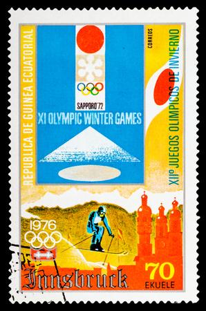 guinee: REPUBLIQUE DE GUINEE - CIRCA 1976: A stamp printed in Republique de Guinee shows Winter Games in Montreal 1976, series sport, circa 1976
