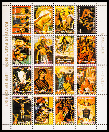 famous paintings: AJMAN STATE - CIRCA 1973: A stamp printed in Ajman State shows famous paintings - life of christ, circa 1973 Editorial