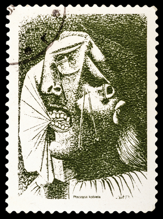 picasso: USSR - CIRCA 1981: A stamp printed in USSR shows Picasso - weeping woman, circa 1981