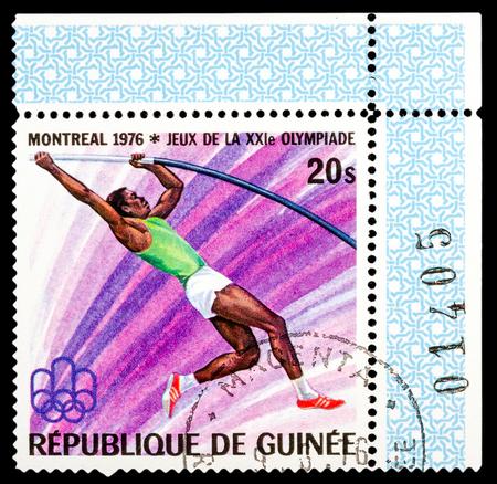 REPUBLIQUE DE GUINEE - CIRCA 1976: A stamp printed in Republique de Guinee shows Summer Games in Montreal 1976, series sport, circa 1976