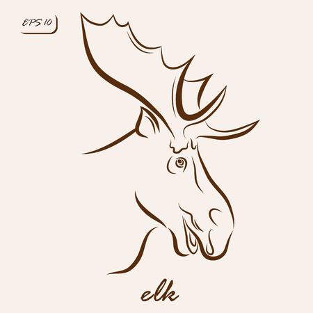 Vector illustration. Illustration shows a elk