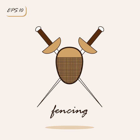 Vector illustration showing rapier and mask a fencer. Fencing Sports Game