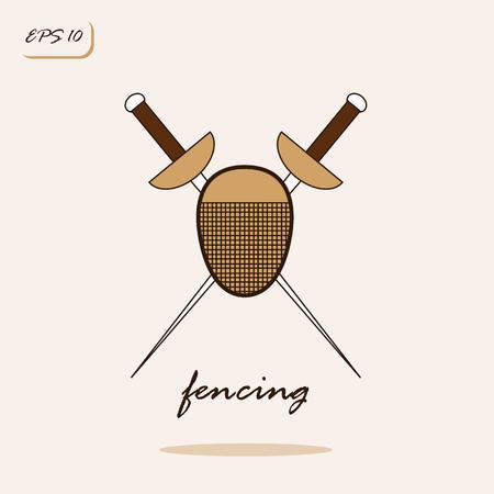 blade: Vector illustration showing rapier and mask a fencer. Fencing Sports Game