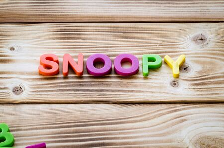Word snoopy on wooden background. Business theme
