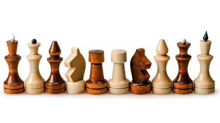 Chess pieces in a row isolated on a white background Stock Photo