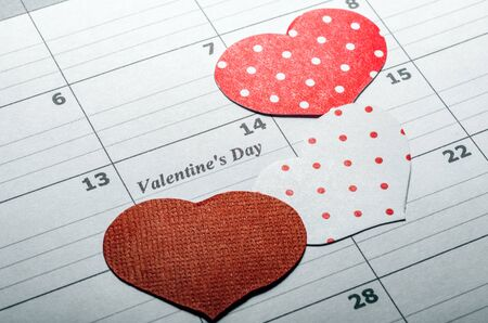 Background. Happy Valentines Day. Hearts. Love. Calendar