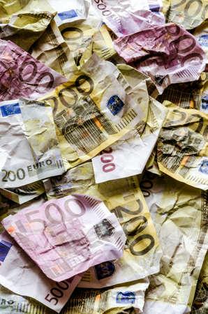 Wrinkled banknotes, euros. Close-up background