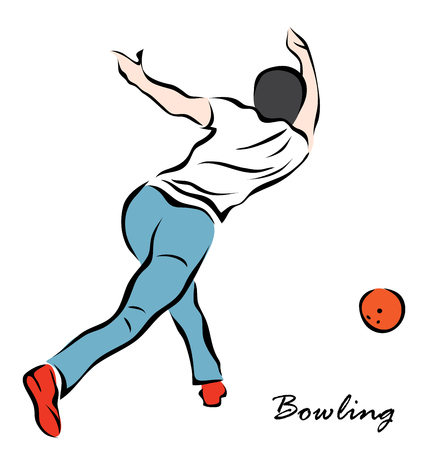 Vector illustration. Illustration shows a player throwing ball. Bowling Illustration