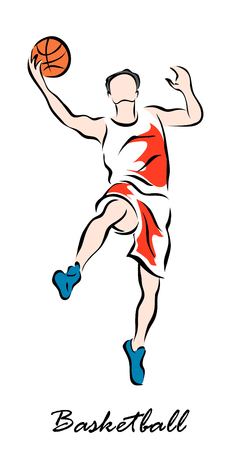 Vector illustration. Illustration shows a Basketball player jumping with the ball. Basketball Illustration