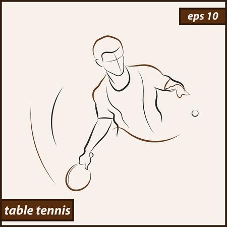 Illustrazione vettoriale. L'illustrazione mostra una racchetta da tennis colpisce la palla. Sport. Ping-pong Vettoriali
