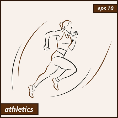 Vector illustration. Illustration shows a athlete. Running man. Sport. Athletics Stock Illustratie