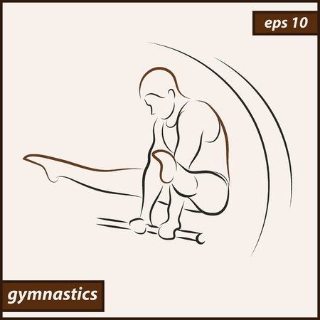 health and fitness: Vector illustration. Illustration shows a gymnast performing acrobatic moves on the parallel bars. Sport. Gymnastics