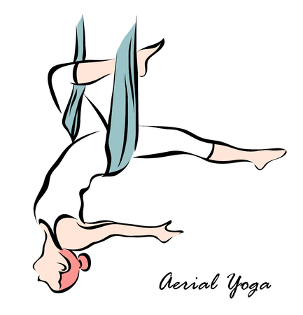 Vector illustration. Illustration shows a woman engaged in aerial yoga Illustration