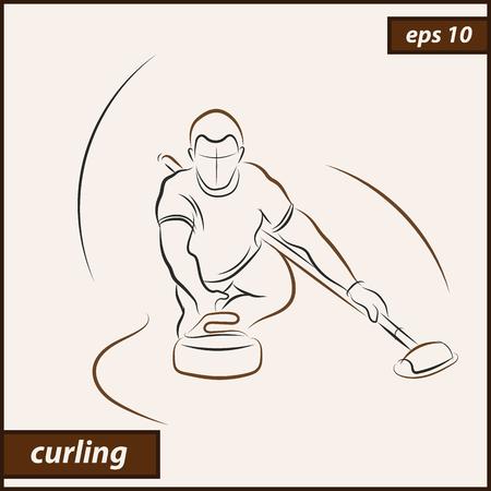 Vector illustration. Illustration shows a athlete playing curling. Curling. Winter sport 向量圖像