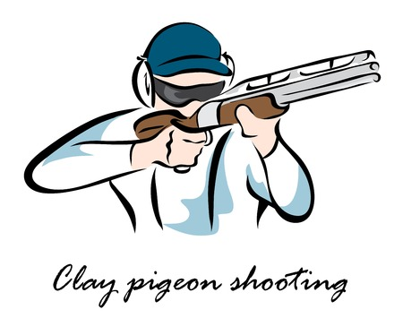 Vector illustration. Illustration shows a kind of sport. Clay pigeon shooting
