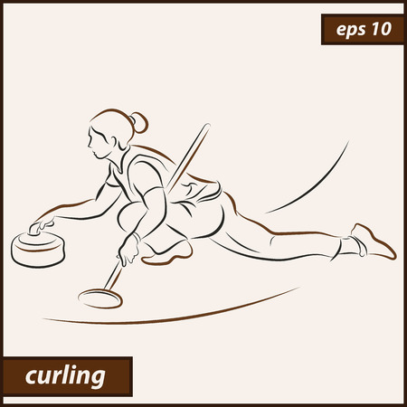 Vector illustration. Illustration shows a athlete playing curling. Curling. Winter sport Vectores