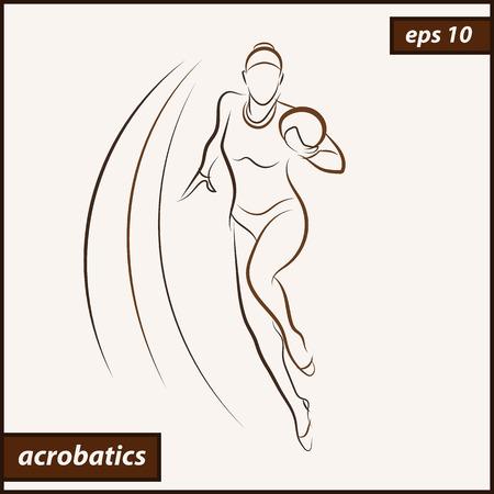 Vector illustration. Illustration shows a Gymnast performing exercises. Acrobatics Illustration
