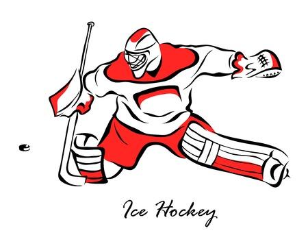 Vector illustration. Illustration shows a hockey goalkeeper in action. Ice Hockey