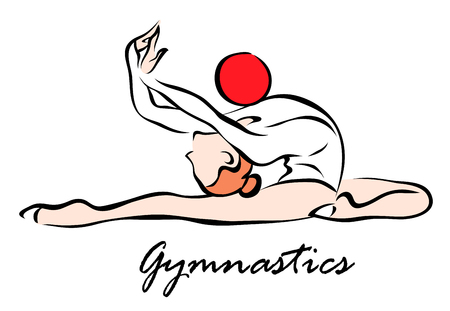 Vector illustration. Illustration shows a Gymnast performing exercises with the ball. Gymnastics