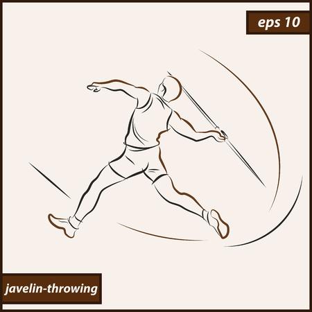 Vector illustration. Illustration shows a athlete throwing javelin. Sport. Javelin throwing Illustration