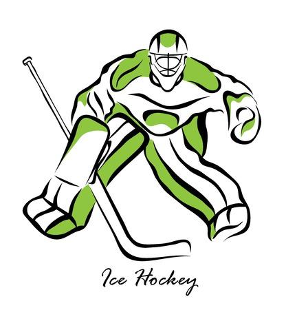 puck: Vector illustration. Illustration shows a hockey goalkeeper in action. Ice Hockey